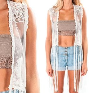 NWT Vintage Element x Jac Vanek Boho Lace Vest Top